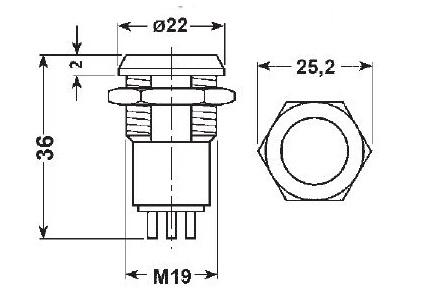 pulsante da pannello normalmente aperto chiuso NA NC verde luminoso 18mm 24V 5A