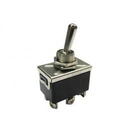 Deviatore a leva 2 scambi 3 posizioni ON-OFF-ON in materiale termoplastico con terminali a vite - 250V 10A - 125V 15A