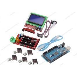 Ramps 1.4 + 5 driver DRV8825 con dissipatore + MEGA 2560 R3 CH340 (Arduino Compatibile) + cavo USB + Controller per stampa autonoma con display grafico 128x64