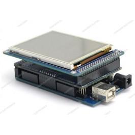 Scheda MEGA 2560 R3 (Arduino-Compatibile) + LCD TFT touch screen da 3.2'' con slot SD + adattatore TFT shield + cavo USB