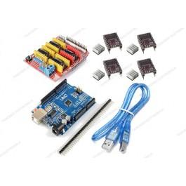 CNC shield V3 + 4 driver DRV8825 con dissipatore + UNO R3 CH340 (Arduino Compatibile) + cavo USB