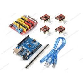 CNC shield V3 + 4 driver A4988 con dissipatore + UNO R3 CH340 (Arduino Compatibile) + cavo USB