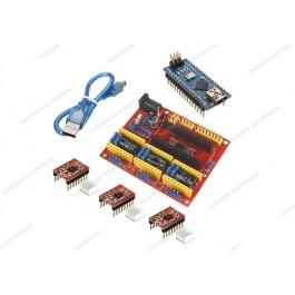 CNC shield V4 + 3 driver A4988 con dissipatore + NANO V3.0 CH340 (Arduino Compatibile) + cavo mini USB