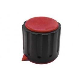 Manopola componibile per perni 6mm con fissaggio a mandrino con indice e cappuccio - diametro 22mm - rosso