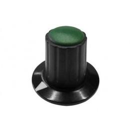 Manopola componibile per perni 6mm con fissaggio a mandrino con indice e cappuccio - diametro 26mm - verde