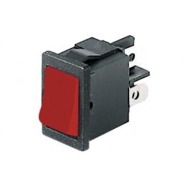 Interruttore a bilanciere bipolare con rosso - 21x15mm - 250Vca 6A
