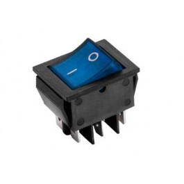 Interruttore a bilanciere bipolare con tasto blu luminoso - 31x25mm - 250Vca 16A