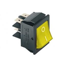 Interruttore a bilanciere bipolare con tasto giallo luminoso - 35x25mm - 250Vca 15A