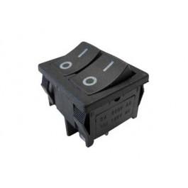 Interruttore a bilanciere doppio unipolare con tasto nero - 21x24mm - 250Vca 10A