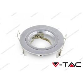 Portafaretto da incasso V-TAC VT-774 per faretti GU10/GU 5.3 rotondo Φ81 x 34 mm grigio argento
