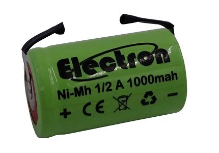 Batteria Ni-Mh 1/2A 1,2V 1000mAh con terminali