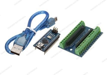 Nano V3.0 CH340 + screw shield + cavo mini USB