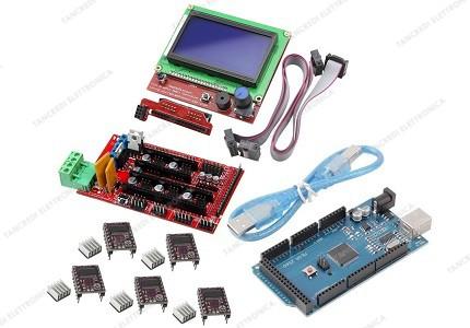 Ramps 1.4 + 5 driver DRV8825 con dissipatore + Arduino MEGA 2560 R3 CH340 clone + cavo USB + Controller per stampa autonoma con display grafico 128x64
