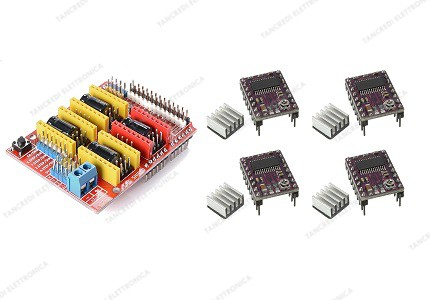 CNC shield V3 + 4 driver DRV8825 con dissipatore
