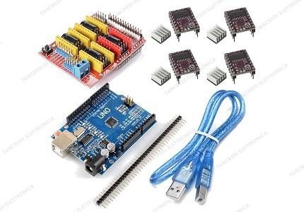 CNC shield V3 + 4 driver DRV8825 con dissipatore + Arduino UNO R3 CH340 clone + cavo USB