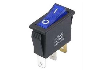 Interruttore a bilanciere unipolare con tasto blu luminoso - 32x14mm - 250Vca 16A