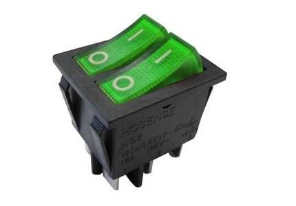 Interruttore a bilanciere doppio unipolare con tasto verde luminoso - 32x25mm - 250Vca 16A