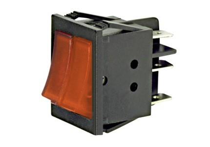 Interruttore a bilanciere doppio unipolare con tasto rosso luminoso - 32x25mm - 250Vca 16A