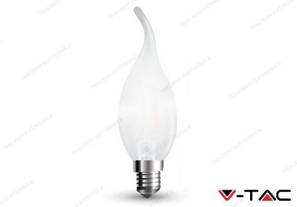Lampadina led V-TAC a fiamma 4W frost cover - attacco E14 - 6400k bianco freddo - VT-1937