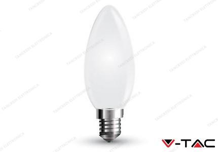 Lampadina led V-TAC a candela 4W white cover - attacco E14 - 2700k bianco caldo - VT-1924