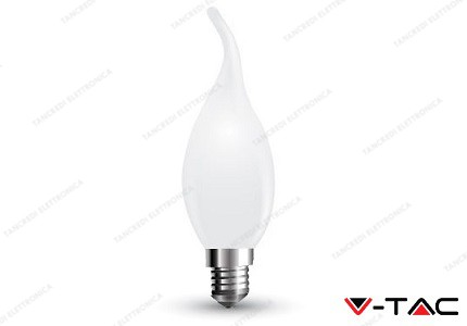 Lampadina led V-TAC a fiamma 4W white cover - attacco E14 - 6400k bianco freddo - VT-1927