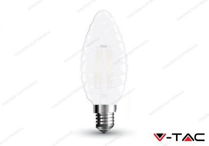 Lampadina led V-TAC a candela 4W frost cover - attacco E14 - 6400k bianco freddo - VT-1928