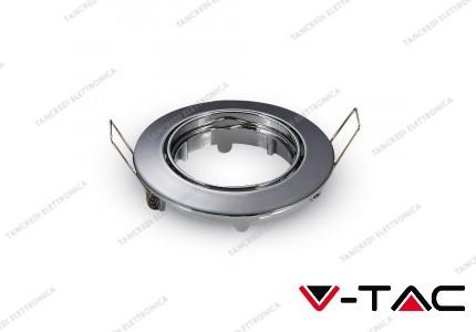 Portafaretto orientabile da incasso V-TAC VT-779 per faretti GU10 rotondo cromato 82 mm