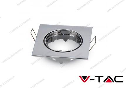 Portafaretto da incasso regolabile V-TAC VT-779 quadrato cromato 82 x 82 x 22 mm