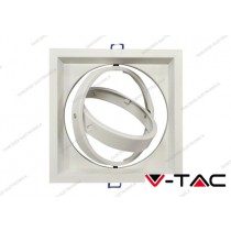 Portafaretto orientabile V-TAC VT-7221 per 1 lampadina AR111 bianco 175 x 175 mm