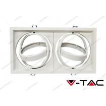 Portafaretto orientabile V-TAC VT-7222 per 2 lampadine AR111 bianco 325 x 175 mm