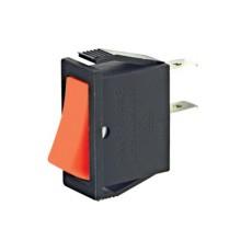 Interruttore a bilanciere unipolare con tasto rosso con autoritorno - 30x14mm - 250Vca 16A