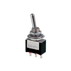 Deviatore a leva in miniatura 1 scambio 3 posizioni ON-OFF-MOM in materiale termoplastico da circuito stampato - 250V 3A - 125V 6A