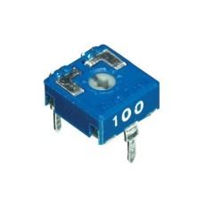 Trimmer a strato di carbone 10x10 a montaggio orizzontale e regolazione con taglio per cacciavite - 100 Ohm