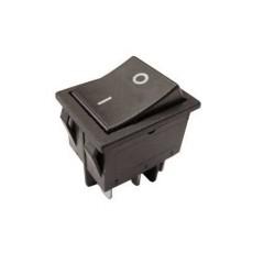 Interruttore a bilanciere bipolare con tasto nero - 33x25mm - 250Vca 16A