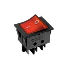 Interruttore a bilanciere bipolare con tasto rosso luminoso - 32x25mm - 250Vca 16A