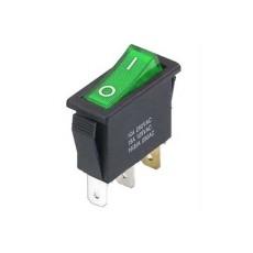 Interruttore a bilanciere unipolare con tasto verde luminoso - 32x14mm - 250Vca 16A