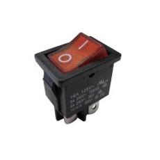 Interruttore a bilanciere bipolare con tasto rosso luminoso - 21x15mm - 250Vca 10A