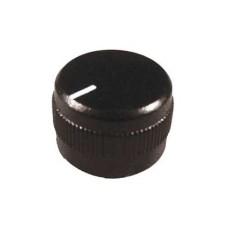 Manopola nera in abs con indice e bloccaggio a vite per perni da 6mm - diametro 23mm