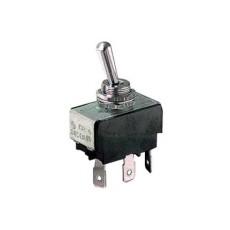 Deviatore a leva 1 scambio 3 posizioni ON-OFF-ON in materiale termoplastico con terminali faston 6,35mm - 250V 10A - 125V 15A