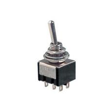 Deviatore a leva in miniatura 2 scambi 3 posizioni ON-OFF-ON in materiale termoplastico con terminali a saldare - 250V 3A - 125V 6A