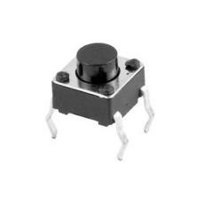 Micropulsante da circuito stampato con tasto nero - 6x6mm altezza 9,5mm - 12Vcc 50mA - confezione da 10pz