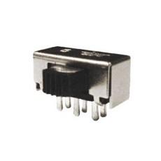 Deviatore a slitta bipolare a 2 posizioni da circuito stampato a 90° - 220Vca 0,2A