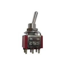 Deviatore a leva in miniatura 2 scambi 2 posizioni ON-ON in nylon con terminali a saldare - 250V 3A - 125V 6A
