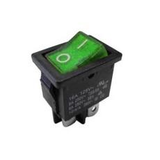 Interruttore a bilanciere bipolare con tasto verde luminoso - 21x15mm - 250Vca 10A