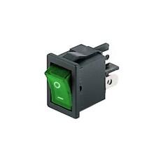Interruttore a bilanciere bipolare con tasto verde luminoso - 21x15mm - 250Vca 6A
