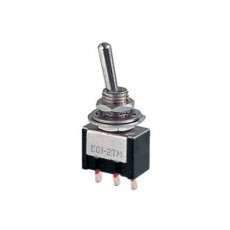 Deviatore a leva in miniatura 1 scambio 3 posizioni ON-OFF-ON in materiale termoplastico con terminali a saldare - 250V 3A - 125V 6A