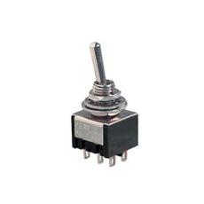 Deviatore a leva in miniatura 2 scambi 3 posizioni MOM-OFF-MOM con autoritorno in materiale termoplastico con terminali a saldare - 28V 6A