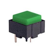 Micropulsante da circuito stampato con tasto verde - 12x12mm altezza 10mm - 24Vcc 10mA - confezione da 10pz