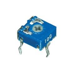 Trimmer a strato di carbone 6x6 a montaggio orizzontale e regolazione con taglio per cacciavite - 100 KOhm