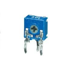 Trimmer a strato di carbone 6x6 a montaggio verticale e regolazione con taglio per cacciavite - 100 KOhm